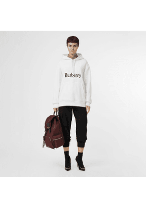 Burberry Embroidered Logo Jersey Hoodie, Size: XL, White