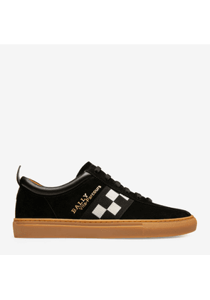 Bally Vita-Parcours Black, Men's calf suede low-top trainers in black