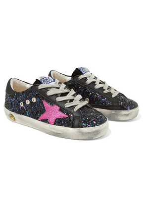 f035d68994e1f ... Superstar Distressed Glittered Leather Sneakers. Golden Goose Deluxe  Brand Kids