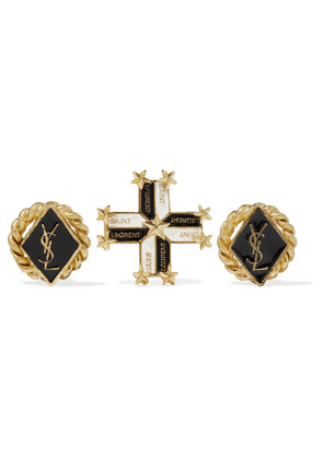 Saint Laurent - Gold-tone Enamel Earrings - one size