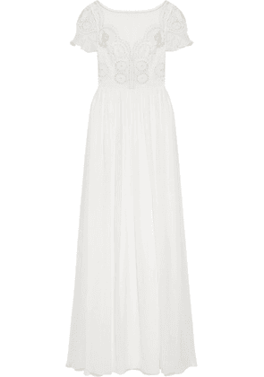 Temperley London - Open-back Embellished Crocheted Tulle And Silk-chiffon Gown - White