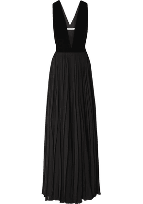 Givenchy - Velvet And Pleated Silk-georgette Gown - Black