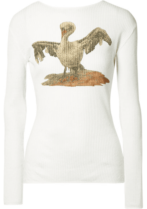 Loewe - Ribbed Printed Cotton-blend Jersey Top - White