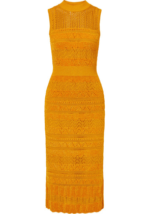 McQ Alexander McQueen - Pointelle-knit And Chenille Midi Dress - Yellow