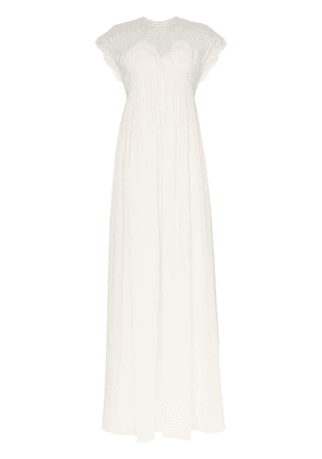 Giambattista Valli cap sleeve lace insert empire line maxi dress -