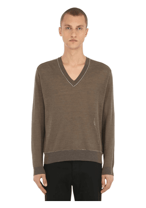 V Neck Linen Blend Knit Sweater
