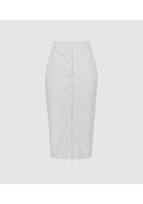 Reiss Hari - Zip Front Pencil Skirt in Stone, Womens, Size 4