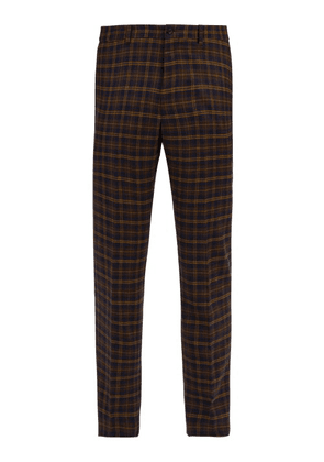 Connolly - High Rise Wool Check Trousers - Mens - Navy Multi