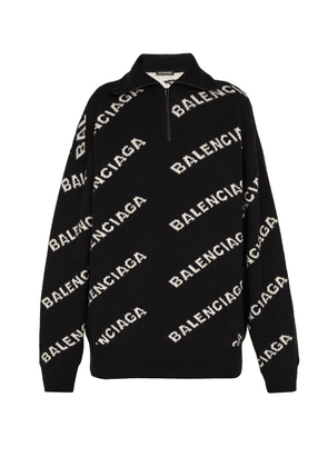Balenciaga - Intarsia Logo Half Zip Sweater - Mens - Black White