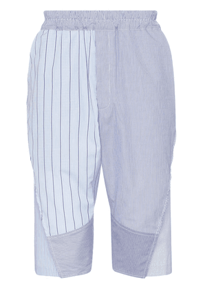 By Walid Manni patchwork shorts - Blue