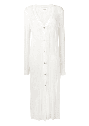 Barrie long ribbed cardigan - White