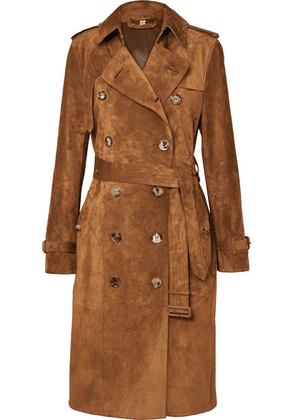 Burberry - The Haddington Double-breasted Suede Trench Coat - Brown