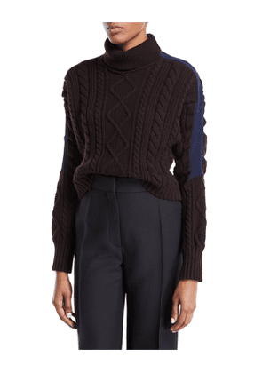Turtleneck Stripe-Sleeve Cable-Knit Pullover Wool Sweater
