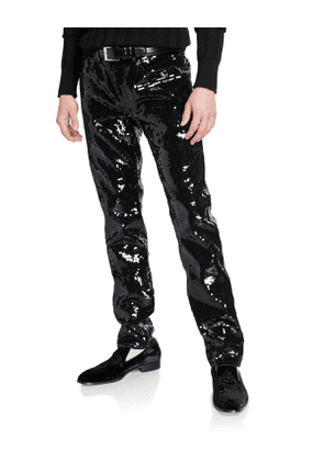 Men's Slim-Leg Sequined Jeans