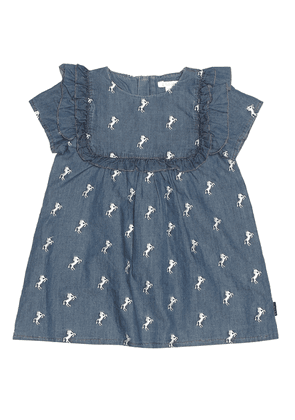 Baby embroidered chambray dress