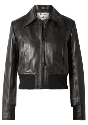 Acne Studios - Loranne Ribbed Knit-trimmed Leather Jacket - Black
