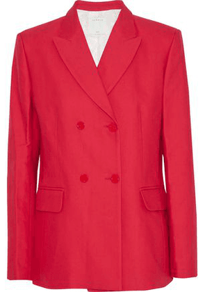Sandro Woman Double-breasted Cotton-blend Blazer Red Size 34