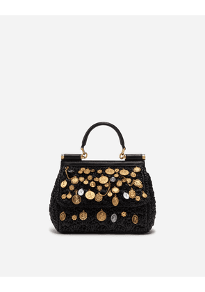 99aefe585cb Dolce & Gabbana Collection - SMALL SICILY BAG IN RAFFIA CROCHET WITH  APPLICATIONS BLACK