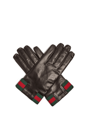 Gucci - Web Striped Leather Gloves - Mens - Black