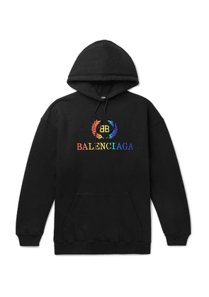 Balenciaga - Oversized Logo-embroidered Loopback Cotton-jersey Hoodie - Black