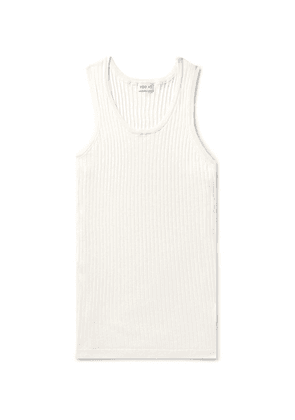 You As - Cal Ribbed Cotton And Silk-blend Tank Top - White