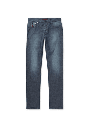 Isaia - Slim-fit Cotton And Linen-blend Denim Jeans - Blue