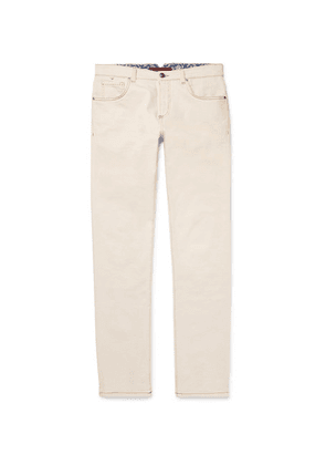 Isaia - Slim-fit Selvedge Stretch-denim Jeans - Ecru