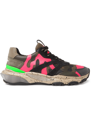 Valentino - Valentino Garavani Bounce Camouflage-print Leather, Mesh And Suede Sneakers - Pink