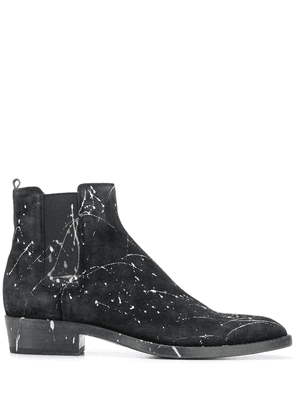 Buttero paint splatter ankle boots - Black