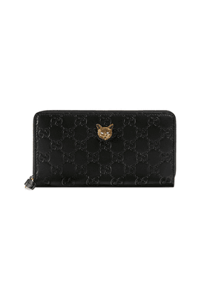 Gucci Gucci Signature zip around wallet with cat - Black