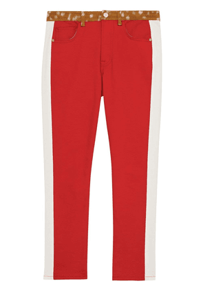 Burberry Straight Fit Deer Print Trim Japanese Denim Jeans - Red