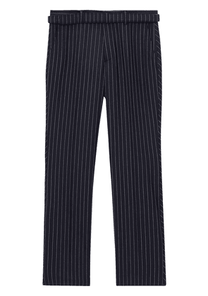 Burberry Classic Fit Pinstriped Wool Tailored Trousers - Blue