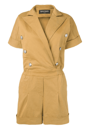 Balmain double breasted playsuit - Neutrals