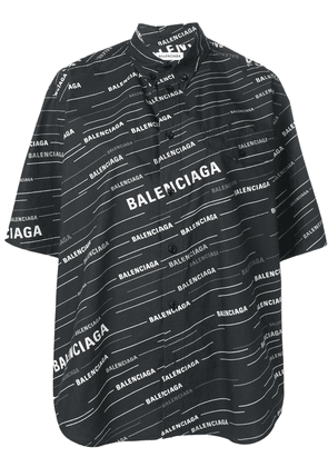 Balenciaga logo short sleeved shirt - Black