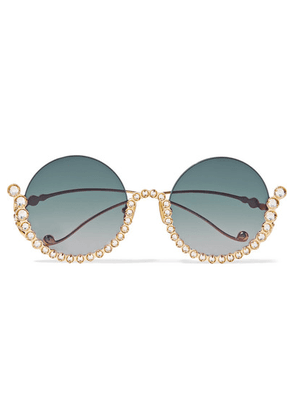Anna-Karin Karlsson - Full Moon Round-frame Crystal-embellished Gold-plated Sunglasses - Blue