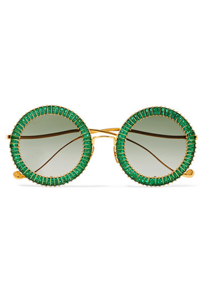 Anna-Karin Karlsson - Magic You Crystal-embellished Round-frame Gold-plated Sunglasses - Green