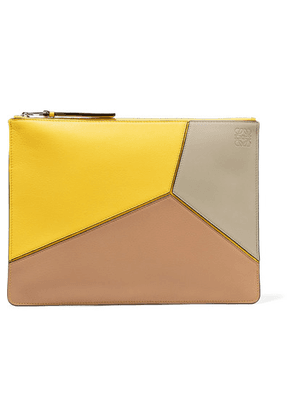 Loewe - Puzzle Medium Textured-leather Pouch - Stone