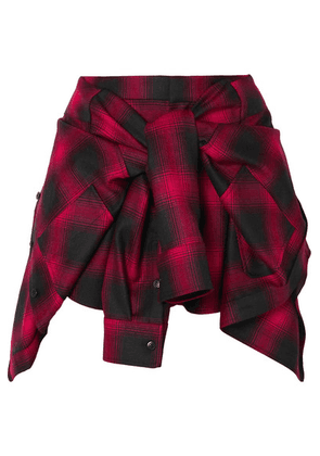 Alexander Wang - Tie-front Checked Wool-flannel Shorts - Red