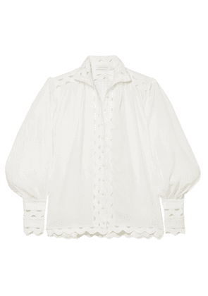 Zimmermann - Ninety-six Wave Rickrack-trimmed Ramie And Linen Blouse - Ivory