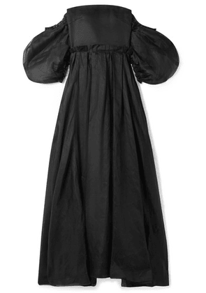 Loewe - Off-the-shoulder Leather And Linen-trimmed Cotton-organza Gown - Black