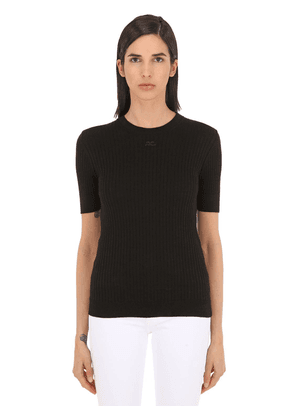 Logo Ribbed Cotton Knit Top