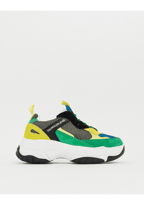 Calvin Klein Marvin chunky trainers in green multi