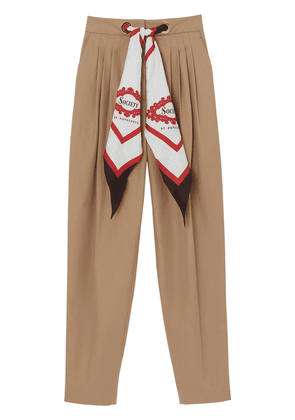 Burberry Scarf Detail Cotton Tapered Trousers - Brown