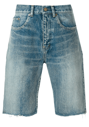 Saint Laurent frayed denim shorts - Blue