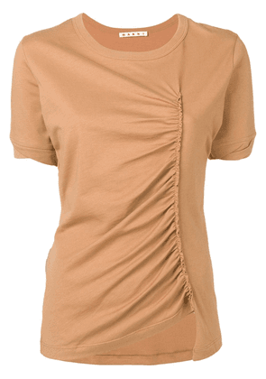 Marni ruched detail T-shirt - Neutrals
