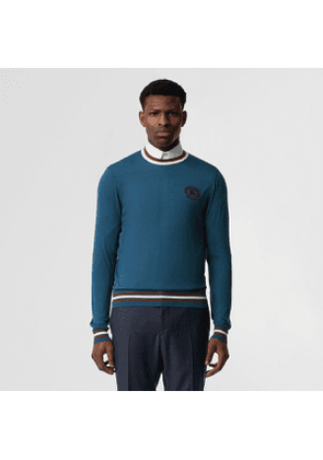 Burberry Embroidered Crest Cotton Silk Sweater, Blue