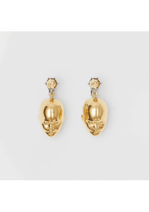 Burberry Crystal and Doll's Head Gold-plated Drop Earrings, Yellow