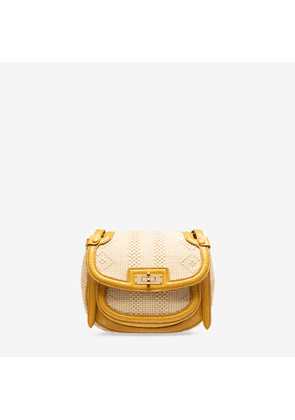 Bally She Brown, Women's raffia and calf leather saddle bag in natural