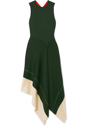 Victoria Beckham - Color-block Asymmetric Stretch-knit Midi Dress - Emerald