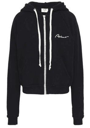 Re/done Woman Embroidered French Cotton-terry Hoodie Black Size XS